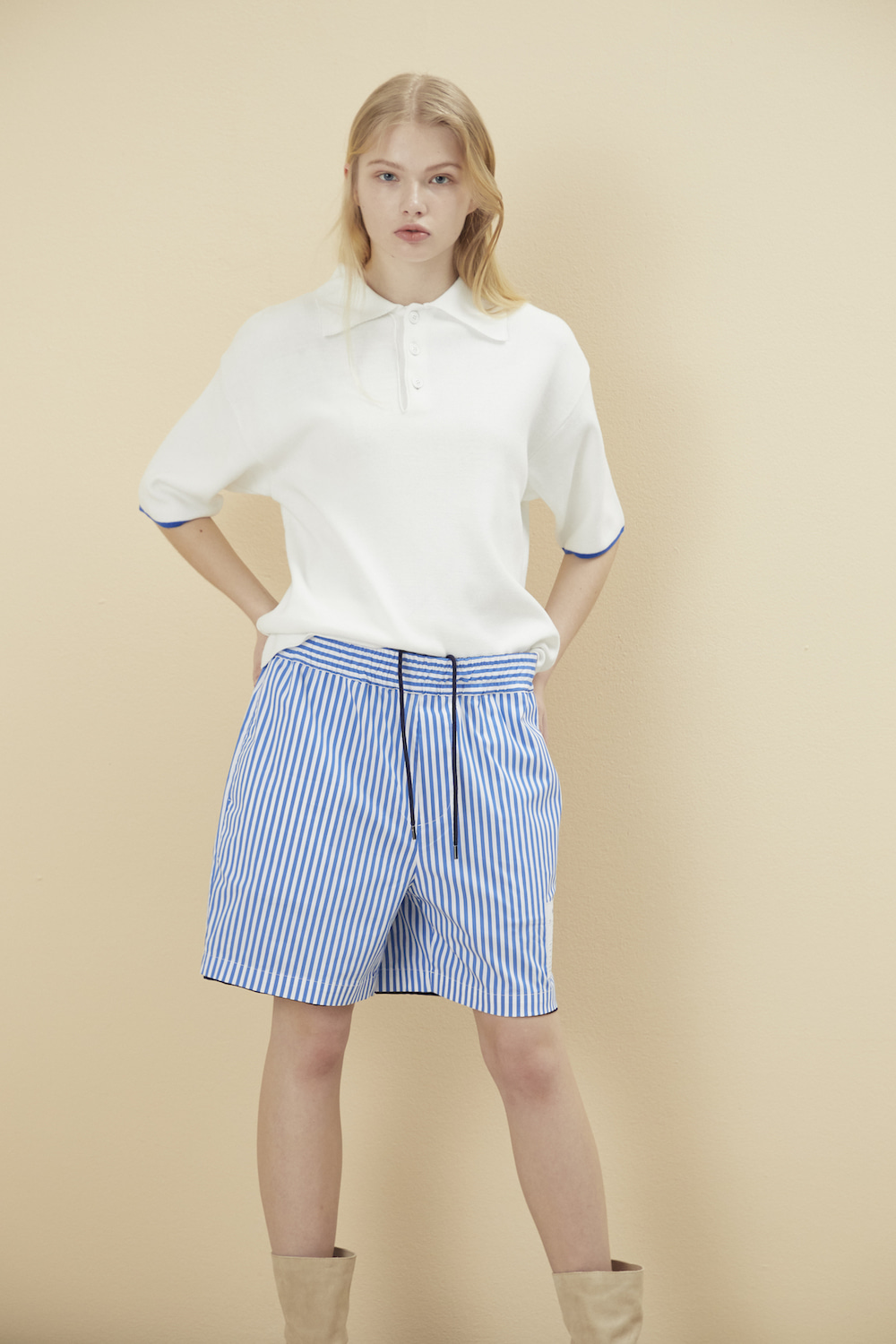 REVERSIBLE STRIPE SHORTS NAVY